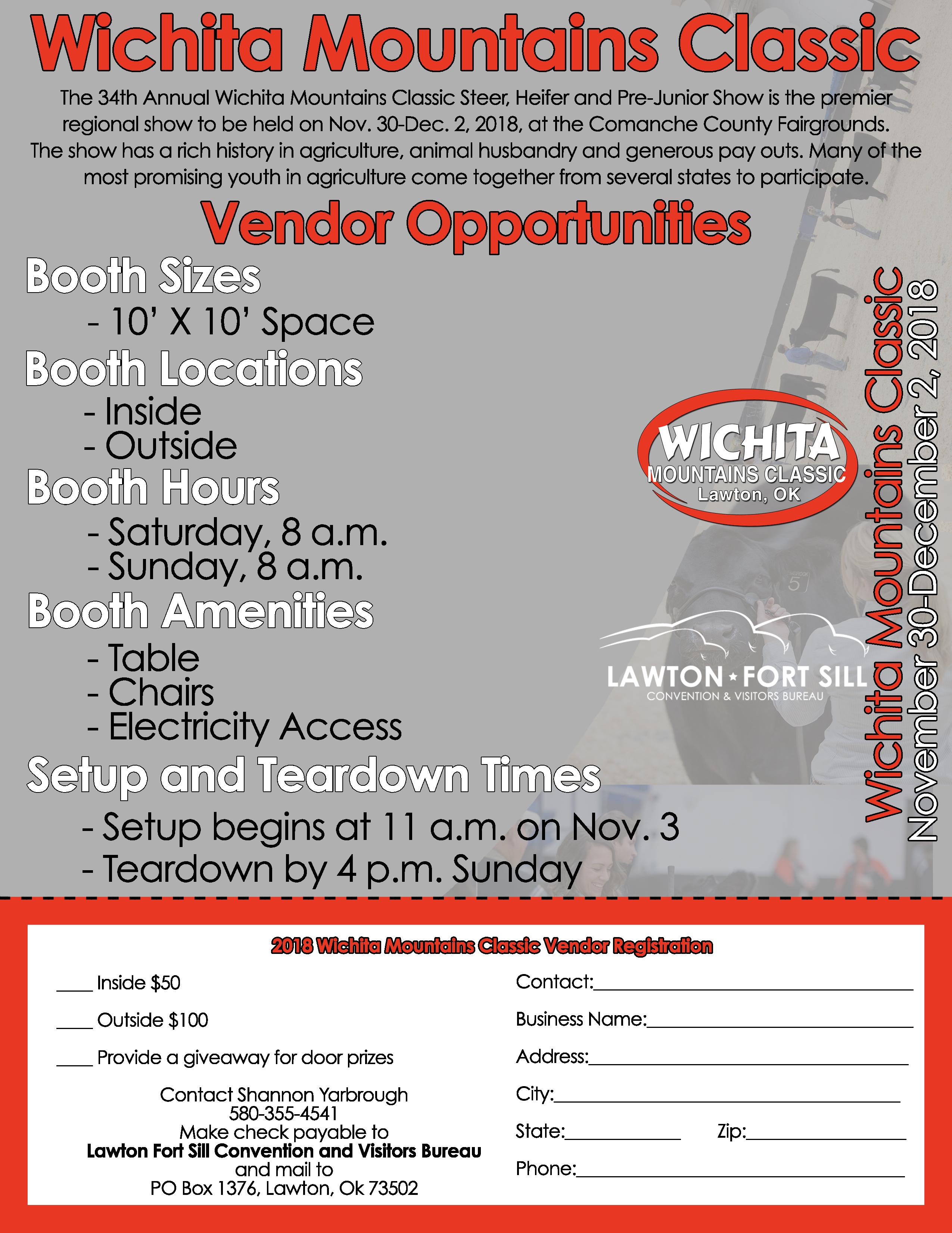 2018 Wichita Mountains Classic Show Seeking Vendors   Lawton