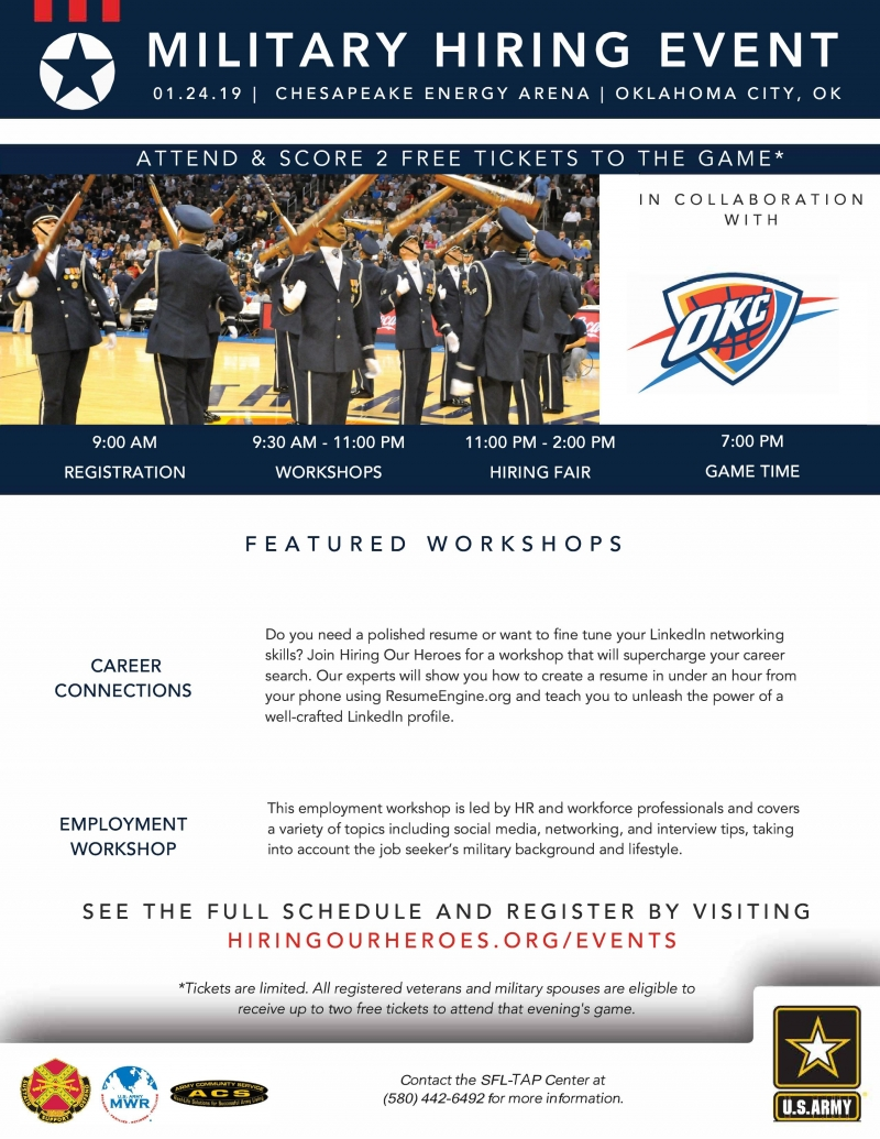 Attention Active Duty Military Veterans Spouses Oklahoma Thunder Hiring Our Heroes Returns January 24th At The Chesapeake Energy Arena